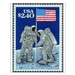 US Flag on the Moon Small Poster