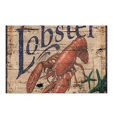 beach lobster woodgrain s Postcards (Package of 8)