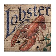 beach lobster woodgrain sign Tile Coaster