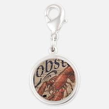 beach lobster woodgrain sign Silver Round Charm