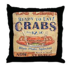crab seafood woodgrain sign Throw Pillow
