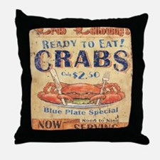 crab seafood woodgrain sign Throw Pillow
