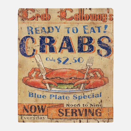 crab seafood woodgrain sign Throw Blanket