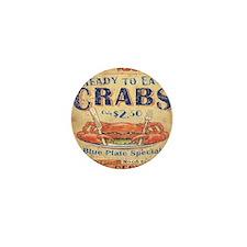 crab seafood woodgrain sign Mini Button