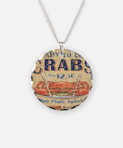 crab seafood woodgrain sign Necklace
