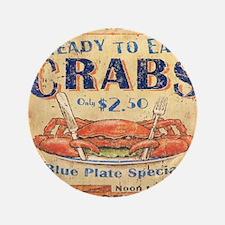"crab seafood woodgrain sign 3.5"" Button"