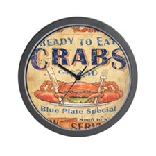 crab seafood woodgrain sign Wall Clock