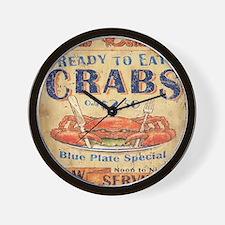crab seafood woodgrain sign Wall Clock