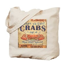 crab seafood woodgrain sign Tote Bag