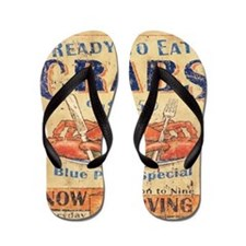 crab seafood woodgrain sign Flip Flops