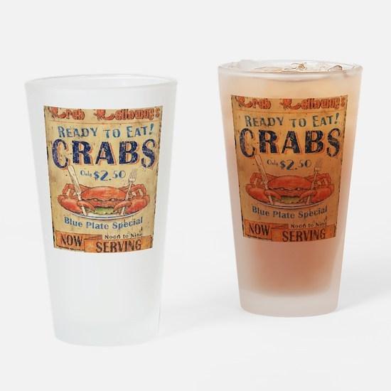 crab seafood woodgrain sign Drinking Glass