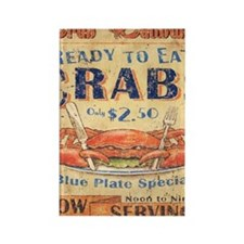 crab seafood woodgrain sign Rectangle Magnet