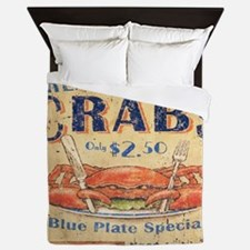 crab seafood woodgrain sign Queen Duvet