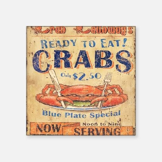 "crab seafood woodgrain sign Square Sticker 3"" x 3"""