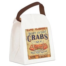 crab seafood woodgrain sign Canvas Lunch Bag