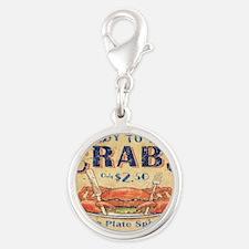 crab seafood woodgrain sign Silver Round Charm