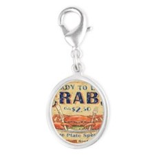 crab seafood woodgrain sign Silver Oval Charm