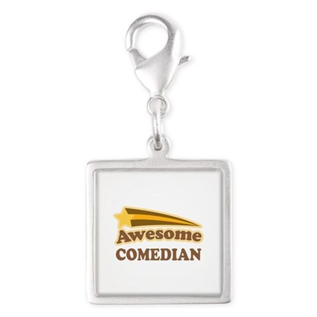 Awesome Comedian Silver Square Charm