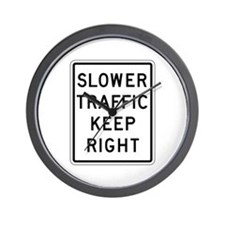 Slower Traffic Keep Right - USA Wall Clock