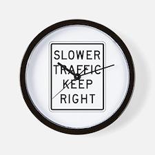 Slower Traffic Keep Right - USA Wall Clock