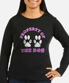 Property of the Dog BLACK pink Long Sleeve T-Shirt