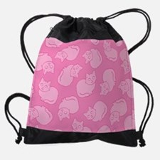 Cute Pink Cat Pattern Drawstring Bag