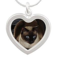Lulú, the Siamese Cat Silver Heart Necklace