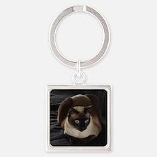 Lulú, the Siamese Cat Square Keychain