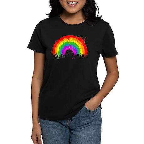 Rainbow Splatter Women's Black Tee