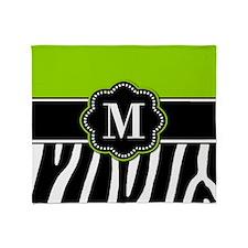 Lime Green Zebra Monogram Throw Blanket