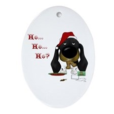 Doxie Santa Ornament (Oval)