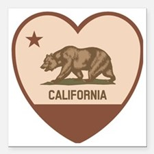 "Love California - Retro Square Car Magnet 3"" x 3"""