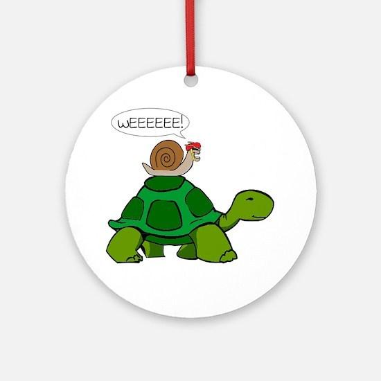 Snail & Turtle Round Ornament