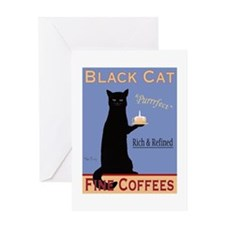 Black Cat Coffee Greeting Card