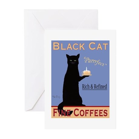Black Cat Coffee Greeting Cards (Pk of 20)