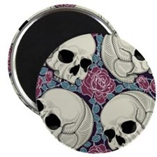 Sugar Skull Pattern Roses Magnets