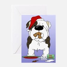 Bulldog Santa Greeting Card