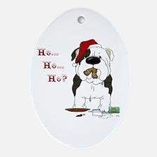 Bulldog Santa Ornament (Oval)