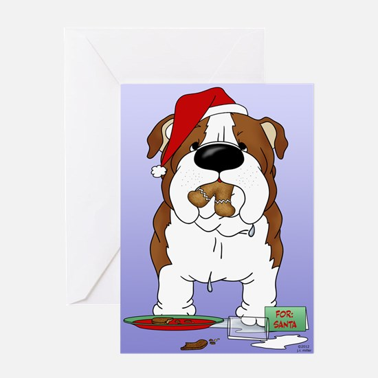 Bulldog Santa Greeting Card