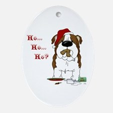 Bulldog Santa Ornament (Oval)