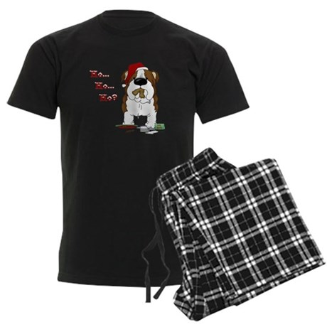 Bulldog Santa Men's Dark Pajamas