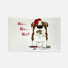 Bulldog Santa Rectangle Magnet