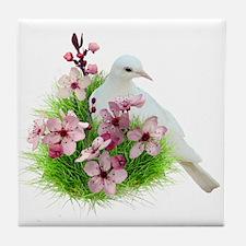 Spring Dove Tile Coaster