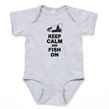 Keep Calm and Fish On Baby Bodysuit