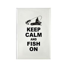 Keep Calm and Fish On Rectangle Magnet