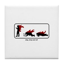 Stop, Drop and Roll Tile Coaster