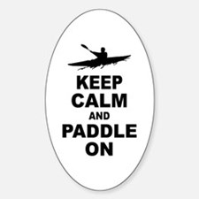 Keep Calm and Paddle On Sticker (Oval)