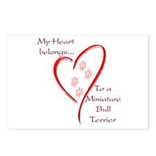 Mini Bull Terrier Heart Belongs Postcards (Package