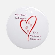 Min Pin Heart Belongs Ornament (Round)