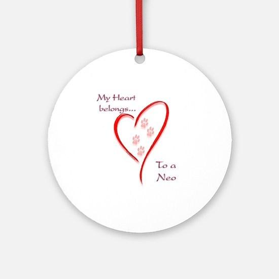 Neo Heart Belongs Ornament (Round)